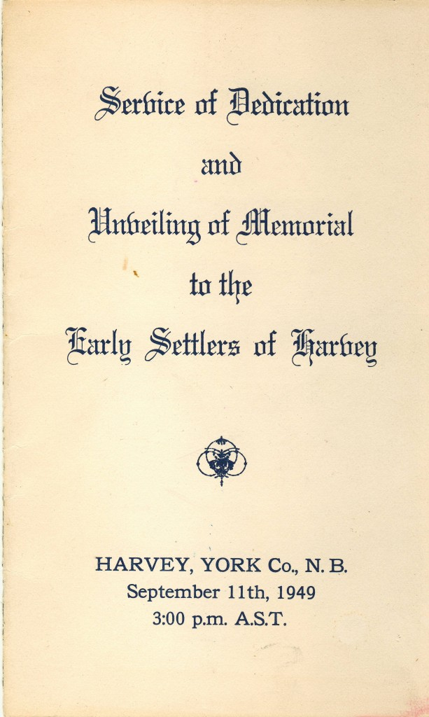 Service of Dedication of Memorial to the Early Settlers of Harvey