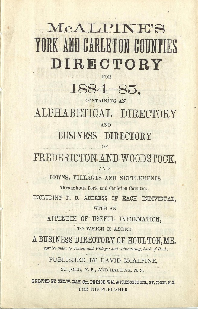 Harvey District Directory for 1884/1885