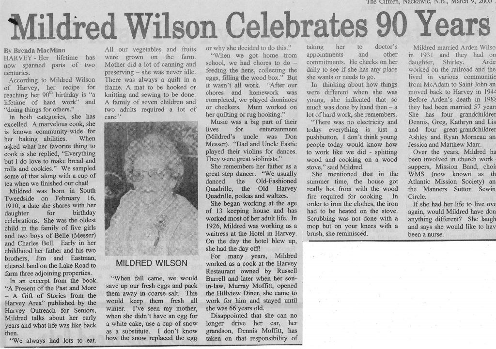 Mildred Wilson Celebrates 90 Years
