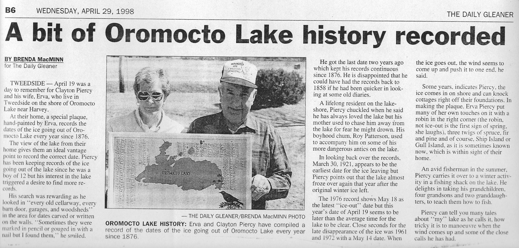 Oromocto Lake History Recorded